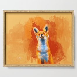 Happy Fox on an orange background Serving Tray