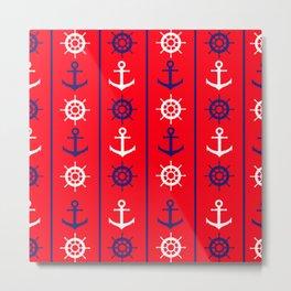 Nautical Pattern Metal Print