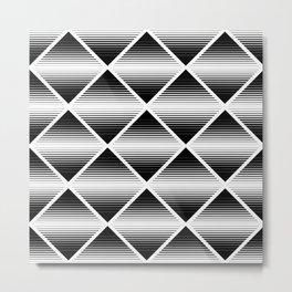 Black and white rhombus pattern Metal Print