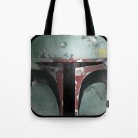 boba fett Tote Bags featuring boba fett by designoMatt