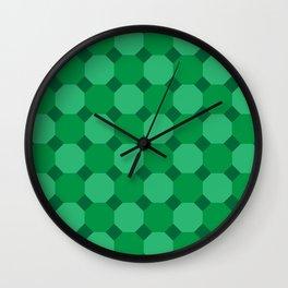 Green Octagons Wall Clock