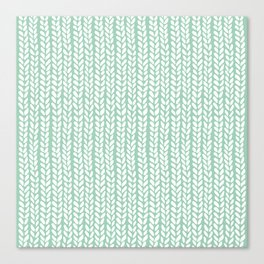 Knit Wave Mint Canvas Print