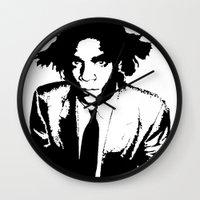 basquiat Wall Clocks featuring BASQUIAT DRIP by KING