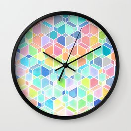 Rainbow Cubes & Diamonds Wall Clock