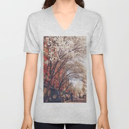 NYC Cherry Blossoms on the Lower East Side Unisex V-Neck