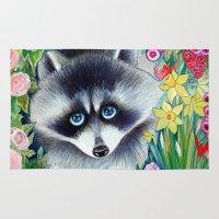 raccoon Area & Throw Rugs featuring Raccoon by oxana zaika