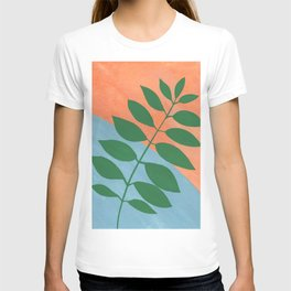 Green botanical on Terra cotta and blue T-shirt