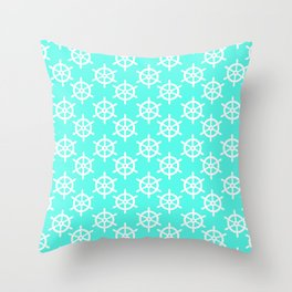 Ship Wheel (White & Turquoise Pattern) Throw Pillow