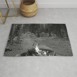 Backpacking Camp Fire B&W Rug