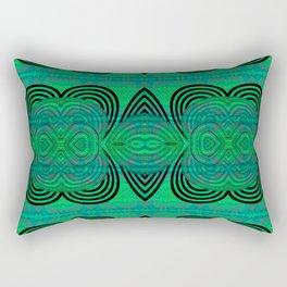 Powerful Feng Shui Healing Green Emerald Psychedelic Geometric Rectangular Pillow