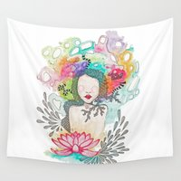 lotus Wall Tapestries featuring Lotus. by Cloe