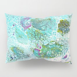 Abstract contemporary painting, aerial view of the ocean and its coral reef Pillow Sham