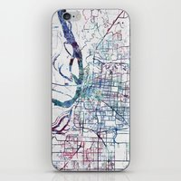 memphis iPhone & iPod Skins featuring Memphis map by MapMapMaps.Watercolors