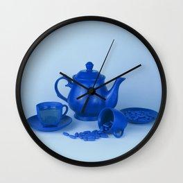 Blue tea party madness - still life Wall Clock