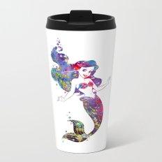 Little Mermaid Watercolor Metal Travel Mug