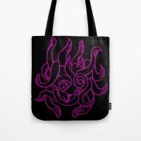 kraken Tote Bags featuring Kraken by Glyphoteque