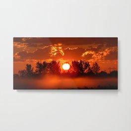 Flaming Horses over the Foggy Sunrise Metal Print