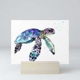 Sea Turtle, Baby Turtle animal artwork for children Mini Art Print