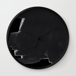 Black And White Minimalist Mid Century Abstract Ink Art Color Block Ominous Abstraction Wall Clock