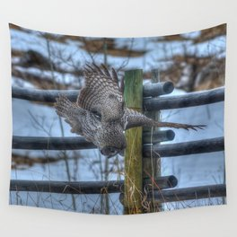Dive, Dive, Dive! - Great Grey Owl Hunting Wall Tapestry