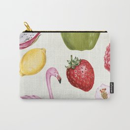 Tropical Flamingo & Fruit Carry-All Pouch