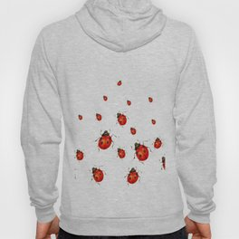 ABSTRACT RED LADY BUGS CRAWLING ON WHITE COLOR Hoody