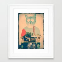 brown Framed Art Prints featuring Cool Cat by Ali GULEC