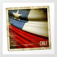 Chile grunge sticker flag Art Print