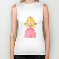 princess peach Biker Tanks featuring Peach by Khatii