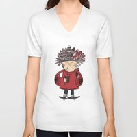 native american V-neck T-shirts featuring Native American Skater Boy by Farnell