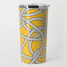 Nautical Yellow Rope Pattern Repeat Travel Mug