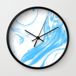 Suminagashi 2 blue and white marble spilled ink ocean swirl watercolor painting Wall Clock