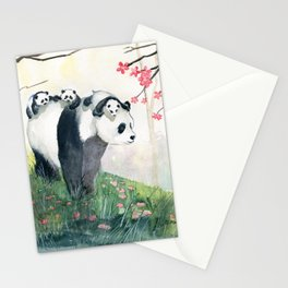 Panda family Stationery Cards