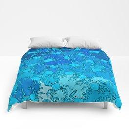 underwater ghost crabs of the blue atlantic ocean beach Comforters