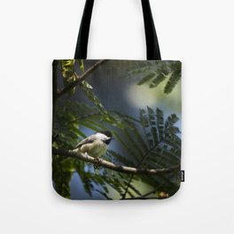 Roosting Black Capped Chickadee Tote Bag