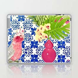 PINK PARROT AND PORTUGESE TILES Laptop & iPad Skin