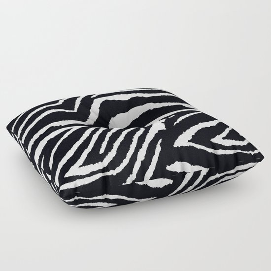 Animal Shaped Floor Pillows : ZEBRA ANIMAL PRINT BLACK AND WHITE PATTERN Floor Pillow by Saundra Myles Society6