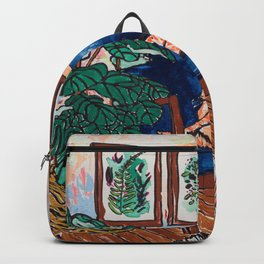Ginger Cat on Blue Mid Century Chair Painting Backpack