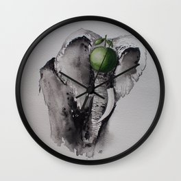 The elephant and the apple Wall Clock
