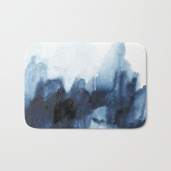Indigo watercolor 2 Bath Mat