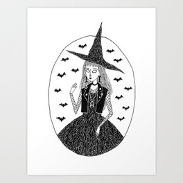 Goth/Punk Witch Art Print