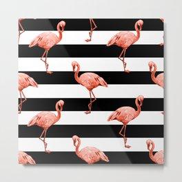 Simply Flamingo Deep Coral on Midnight Black Stripes Metal Print