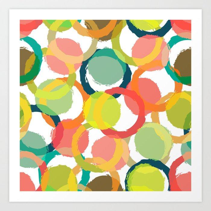 COLORFUL CIRCLES PATTERN  Art Print