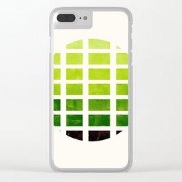 Watercolor Sap Green Minimalist Mid Century Modern Square Matrix Geometric Pattern Round CircleFrame Clear iPhone Case
