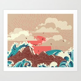 Stylized big waves of ocean or sea at sunset landscape Art Print