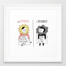 Optimist Vs Pessimist Framed Art Print