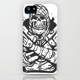 Military skull with guns iPhone Case
