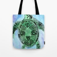 tatoo Tote Bags featuring Tatoo Sea Turtle by PepperDsArt
