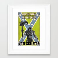 skeletor Framed Art Prints featuring Vote Skeletor by Itomi Bhaa