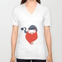 beard V-neck T-shirts featuring Beard by Volkan Dalyan